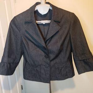 Cleo petites lightweight demin blazer 3/4 sleeve